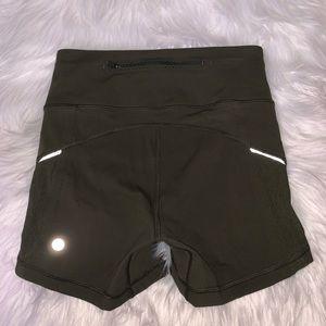 Lululemon Olive Green Smooth Stride Hot Shorts